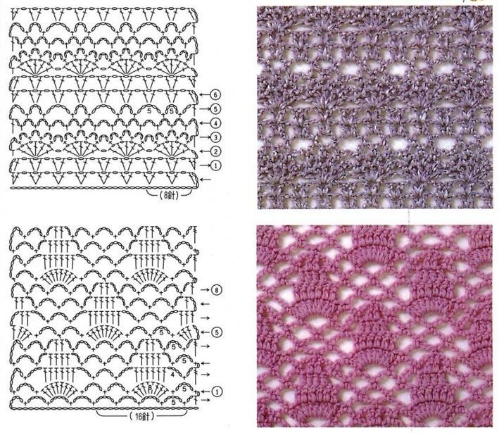 Схемы, узоры вязания крючком