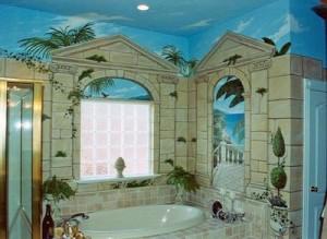 классическая роспись своими руками стена ванной