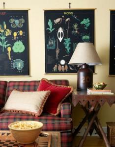клетчатый диван дом охотника