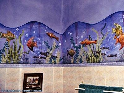 Рисунки на стене в ванной своими руками фото