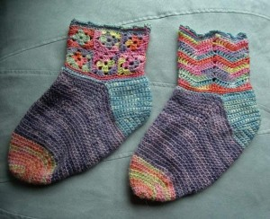 вязание крючком креативный хенд-мейд носки