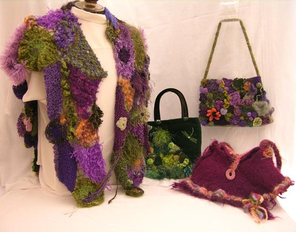 одежда сумки крючком в стиле фриформ