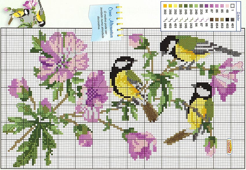 Вышивка крестом птицы на цветах 343