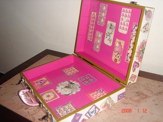 чемодан коробка для хранения рукоделия хендмейд декупаж.