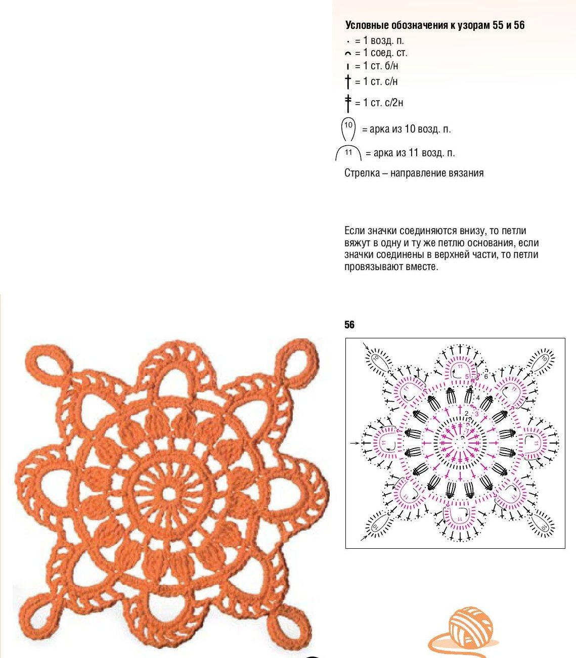 Цветочные мотивы крючком со схемами и фото