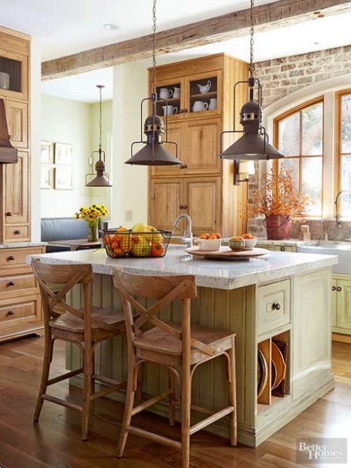Прованс в интерьере кухни - фото идея с центральным столом