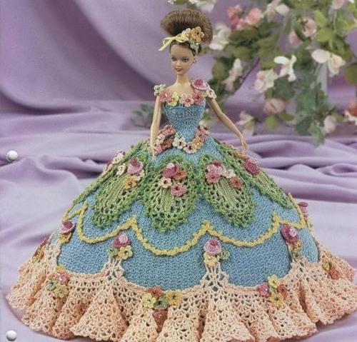 Вязание бального платья крючком для барби