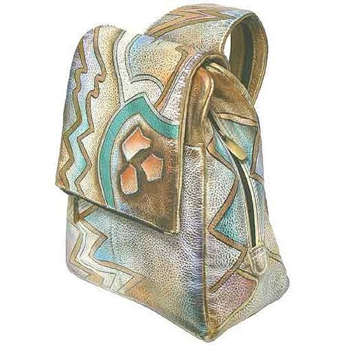 Рюкзак из кожи - роспись акрилом