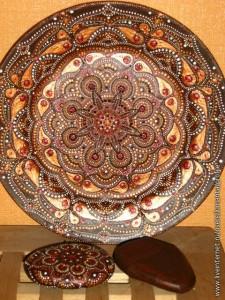 точечная роспись тарелка