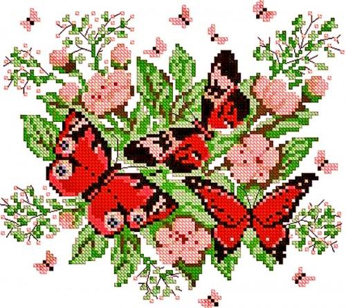 Х288,23 цвета, Можно разбить на две полноценные композиции, Схема вышивания крестиком Цветы на подоконнике.