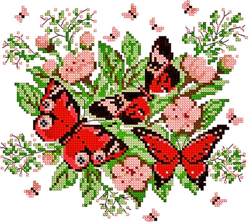 цветы, схемы вышивки