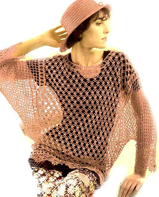 Ажурная туника – схемы вязания
