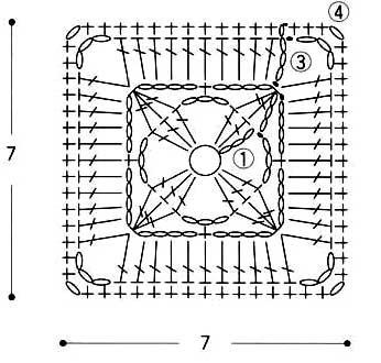 квадратный мотив крючком схема
