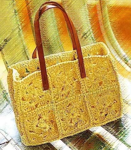 Вязаная сумка крючком со схемой мотивов.