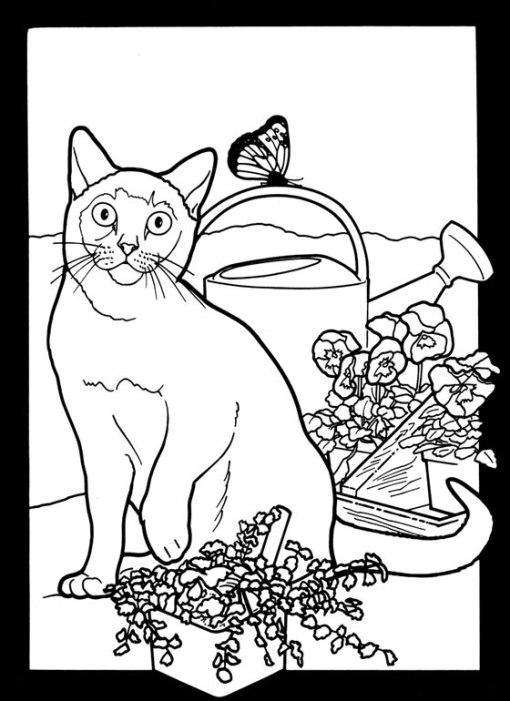 трафарет для росписи кошка