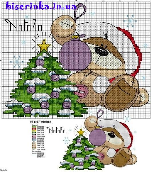 Схема вышивки медвежонка под новогодней елочкой