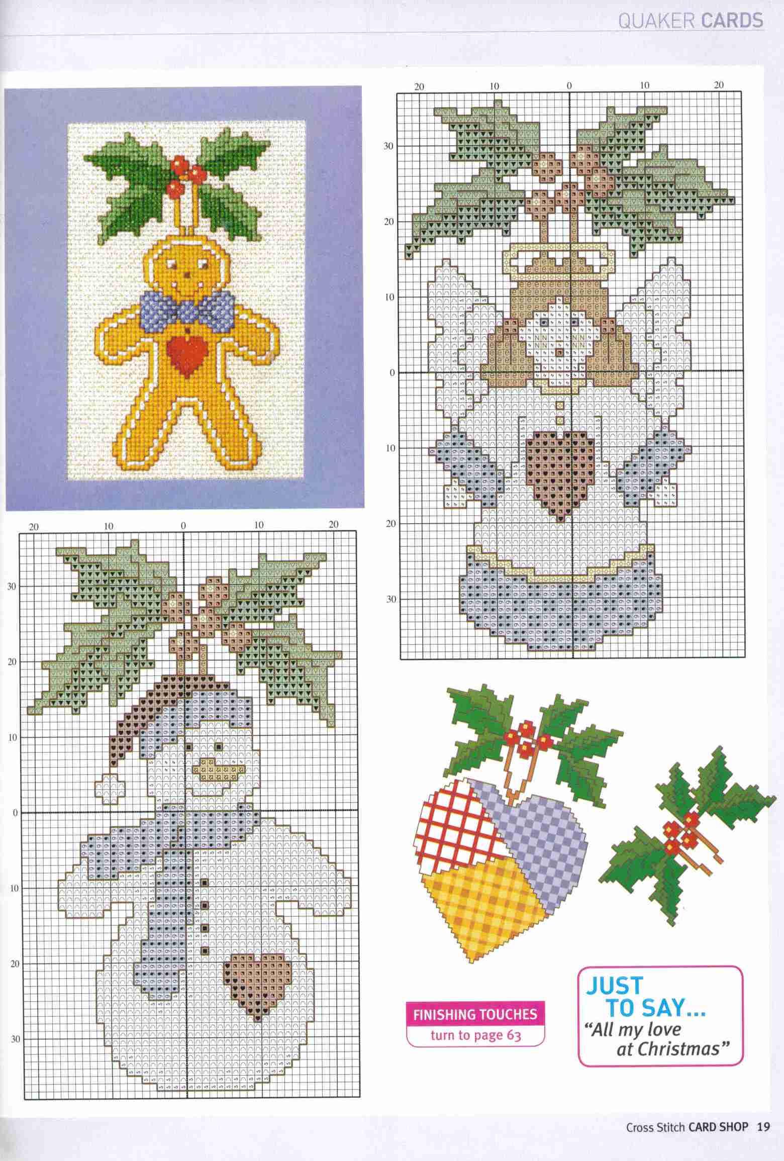 Схемы вышивки снеговика, пряничного человечка, ангела и сердечек