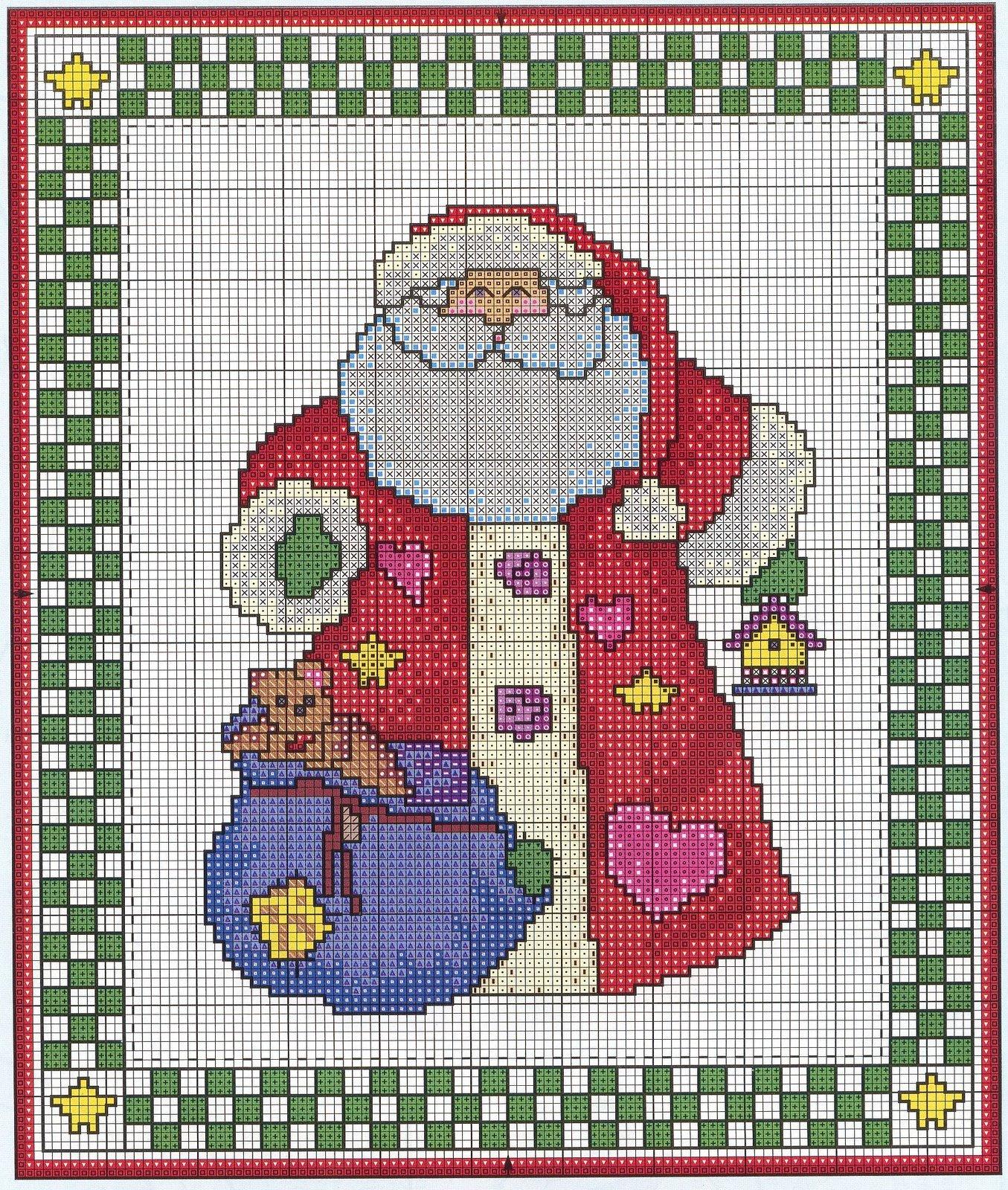 Схемы для вышивания на новый год - дед мороз и снеговик