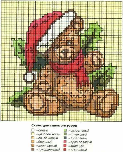 Схема вышивки медвежонка в