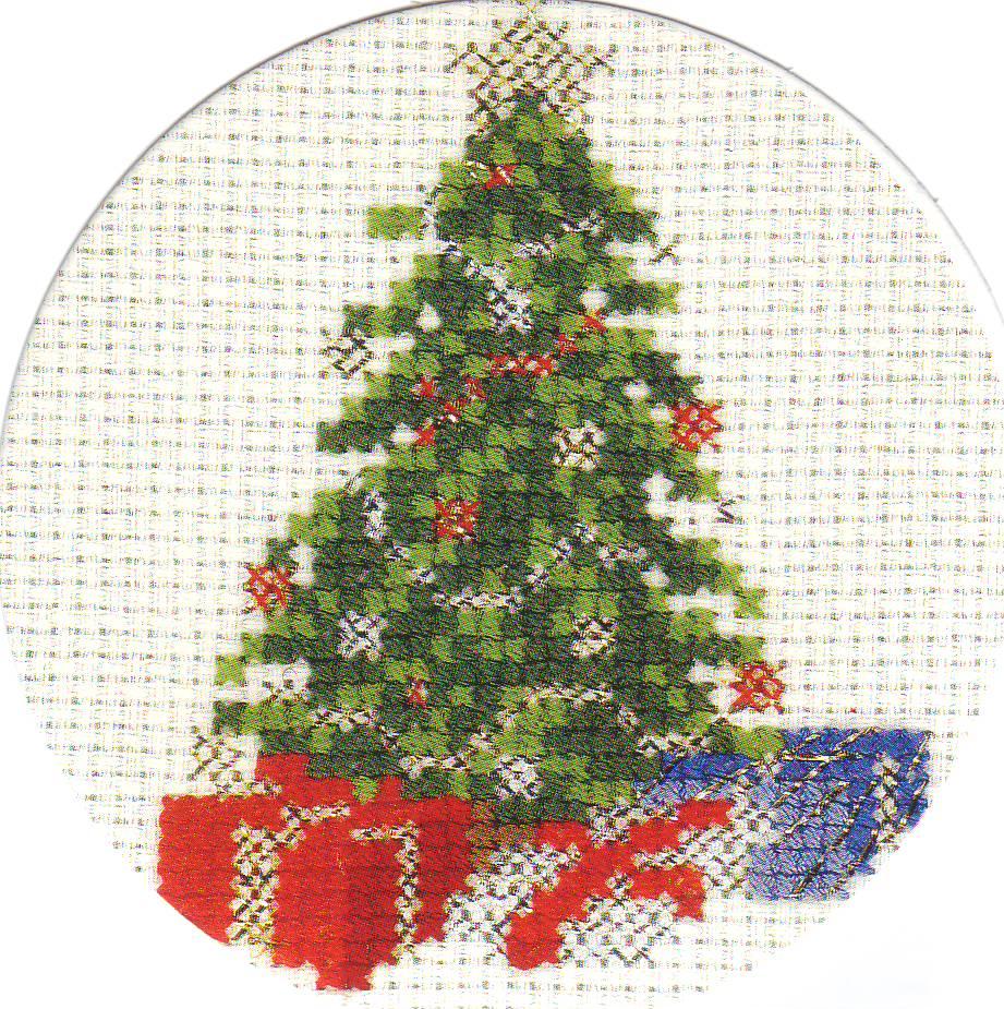 Схема вышивки новогодней елочки