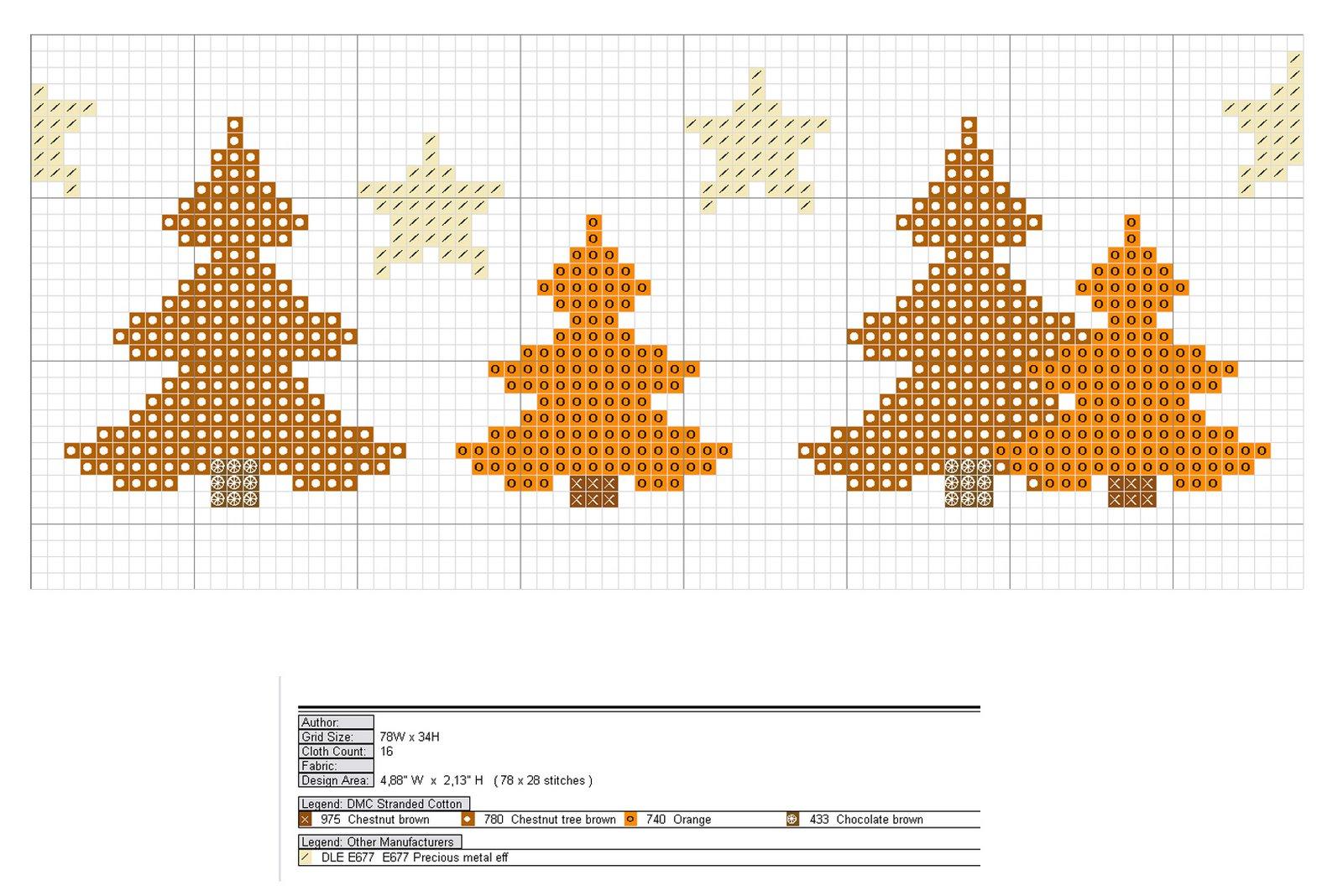 Схема вышивки елочек и звездочек