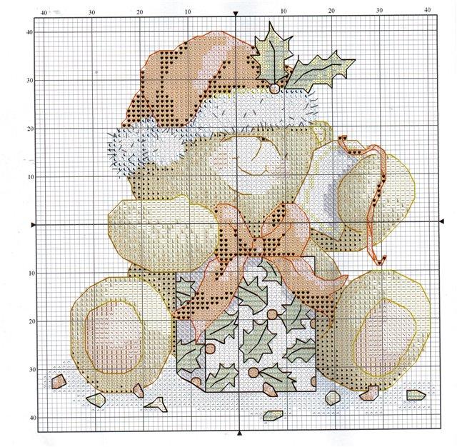 Схема вышивки белого медвежонка с коробкой подарков