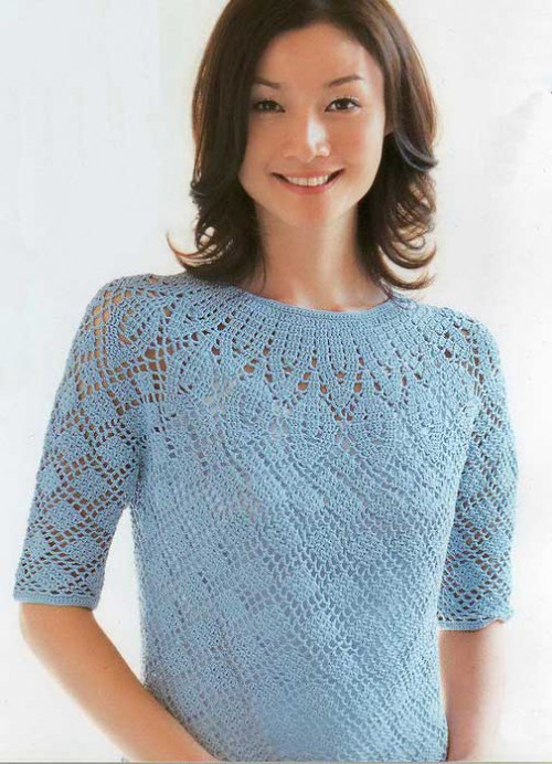 Голубая блузка крючком