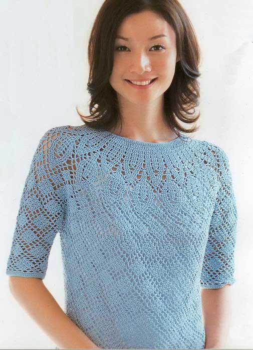 Вяжем голубую блузку крючком