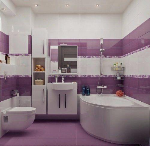 Идея сиреневого интерьера ванной комнаты