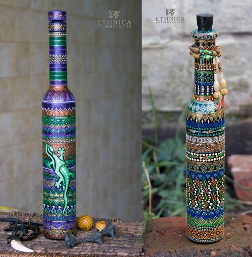 декор бутылок точечная роспись