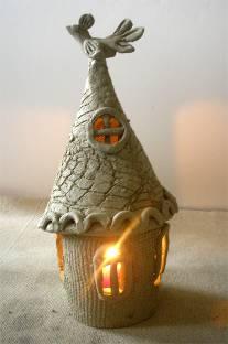 Светильник домик из глины