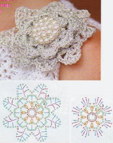 Белый зимний цветок крючком