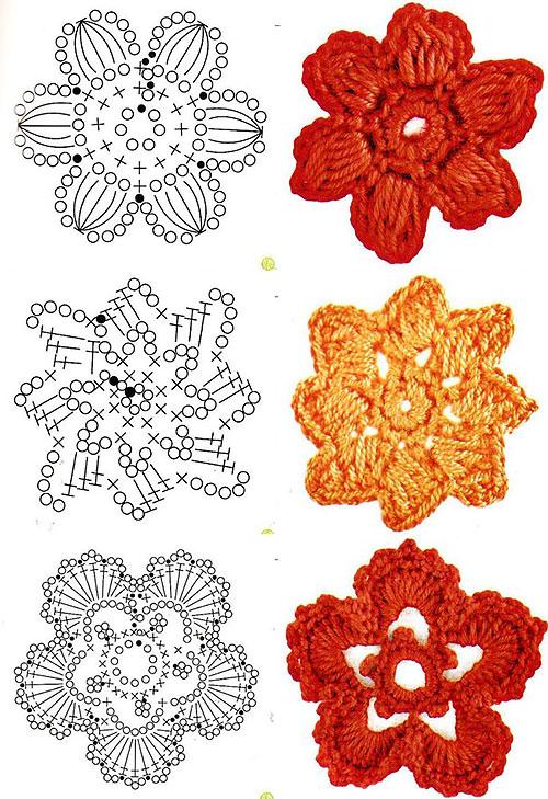 Цветы крючком со схемами вязания
