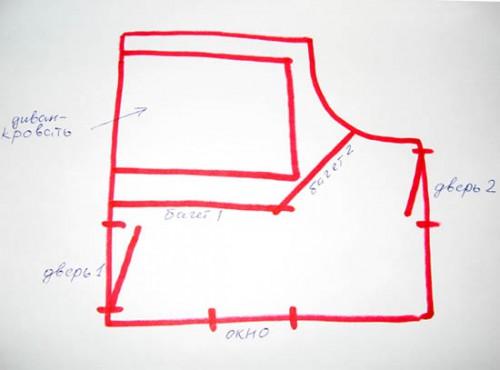План проходной комнаты - спальни