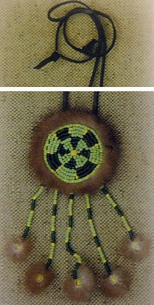 Подвеска из бисера с мехом - защита от чужих глаз