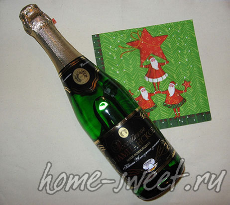 Декупаж бутылки шампанского 2