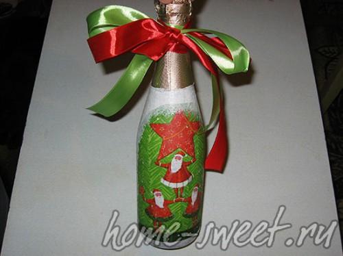 Декупаж бутылки шампанского 1
