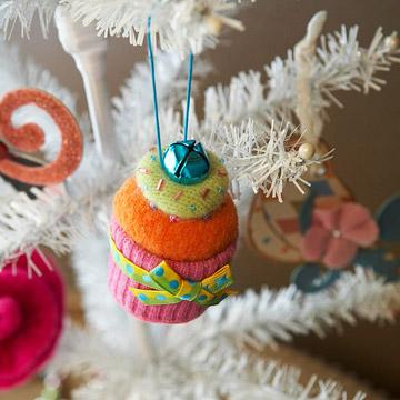 Новогодняя игрушка кекс из фетра