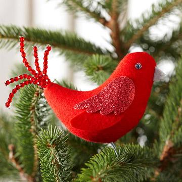Новогодняя игрушка попугай из фетра