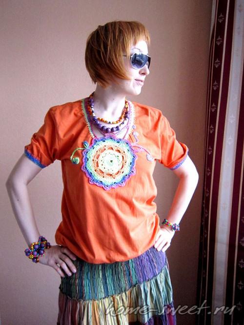 Кофточка для лета из футболки и цветной пряжи 1