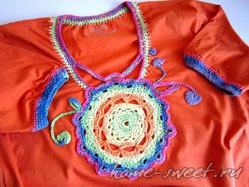 Кофточка для лета из футболки и цветной пряжи 12