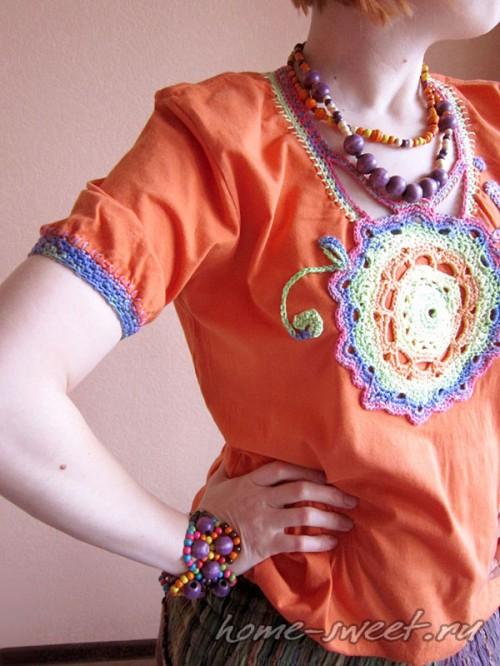 Кофточка для лета из футболки и цветной пряжи 13
