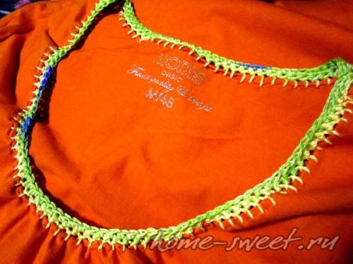 Кофточка для лета из футболки и цветной пряжи 7