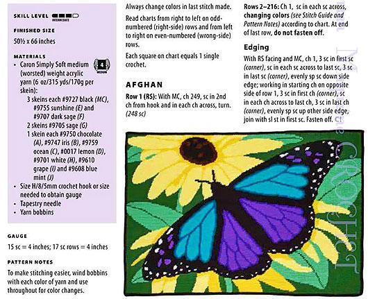 Описание вязания пледа с бабочкой