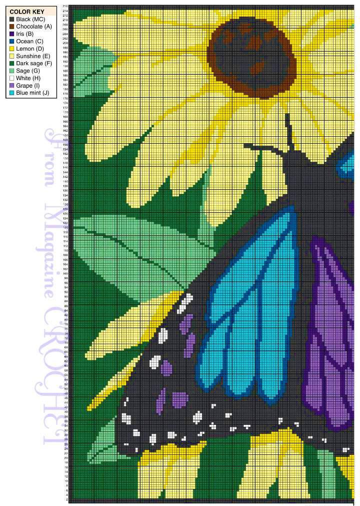 Схема вязания пледа с бабочкой