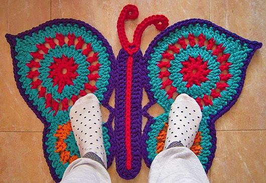 Бабочка коврик крючком