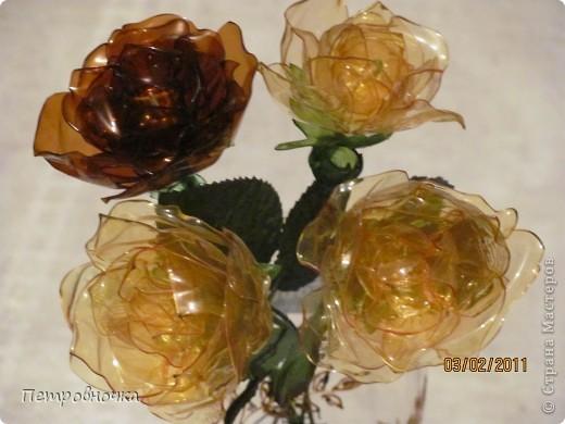 Мастер класс: цветы розы из пластиковых бутылок (28)