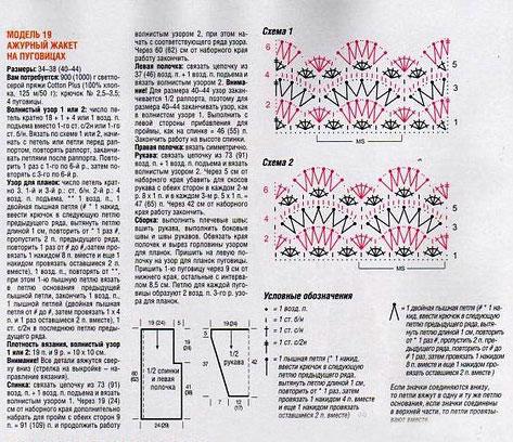 Описание и схема вязания жакета крючком