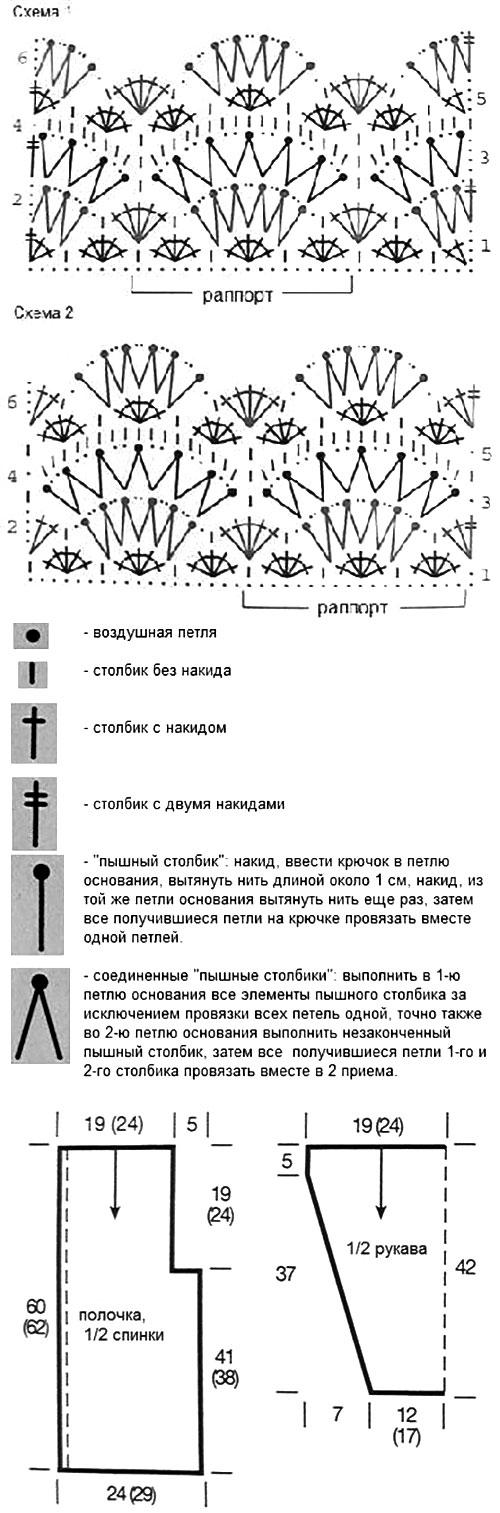 Схема узора ажурного жакета крючком