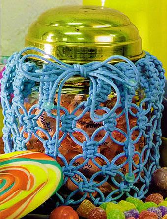 Баночка для конфет оплетенная макраме